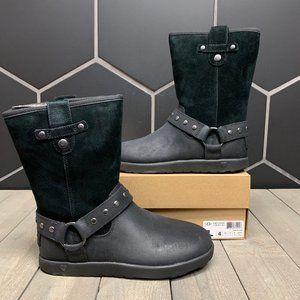 New W/ Box! Kids Ugg Moto Short Black Strap Boots